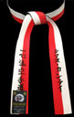 Red & White Renshi Belt with Black Backside