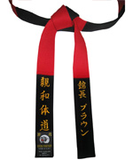 Black & Red Master Panel Belt with MATCHING Color Stitching