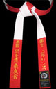 Red & White Master Panel Belt with RED Stitching