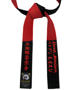 Black & Red Master Panel Belt with Three-line Embroidery